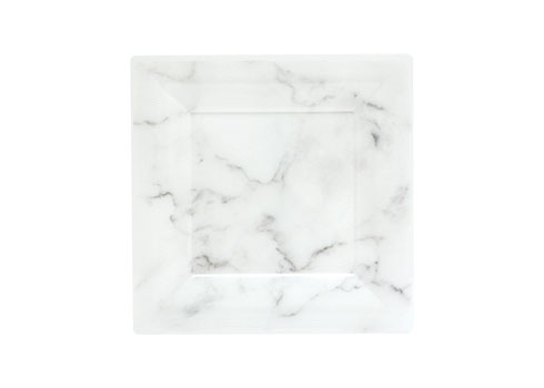 "6.5""WHITE MARBLE SQUARE PLATE 100/cs EGS65W6QRY QUARRY"